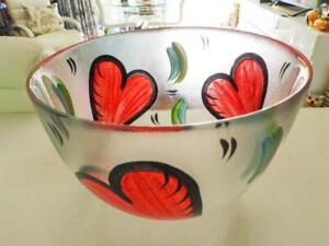 KOSTA BODA LARGE Red Heart Bowl Signed Ulrica Vallien  - H15cm x D22cm