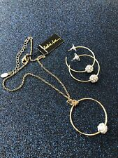 COOKIE LEE Gold Tone Chain Necklace Hoop Crystal Ball Choker & Matching Earrings