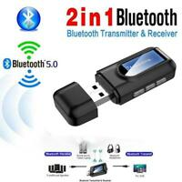 2 IN 1 Bluetooth 5.0 Audio Sender Sender LCD AUX Stereo Wireless Adapter