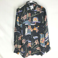 GOOUCH Men's XL Long Sleeve Shirt Silk Button-Up 90s Abstract Art NEW VTG
