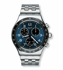 New Swatch BOXENGASSE Blue Dial Chrono Stainless Steel Mens Watch YVS423G