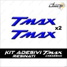 2 ADESIVI MOTO RESINATI TMAX T MAX 500 530 SCRITTA SPORT CARENE 3D SCOOTER BLU