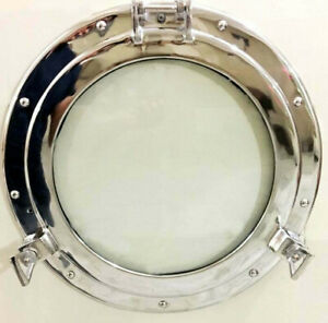"Nickel canal Boat Porthole 17""-Window Ship Round Glass Window Wall Home Decor"