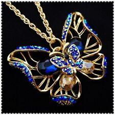 Betsey Johnson Blue Butterfly Pendant charm Sweater chain necklace gift XR