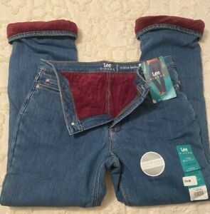 NWT LEE RIDERS MIDRISE BOOTCUT fleece Lined WOMENS Jeans Size 14 petite