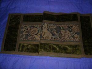 Antique French tapestry runner on velvet,metallic trim.Lined.