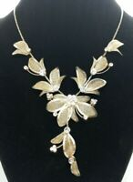 Gold Tone Mesh Floral Leaf Vintage Delicate Wedding Formal Necklace Rhinestones