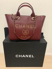 CHANEL Deauville Tote Chain Shoulder Bag Wine Red Caviar Leather Woman Auth New