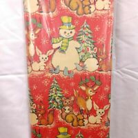 Vintage Christmas Wrapping Paper Sheets Red Snowman Reindeer 60s 70s 50sq ft
