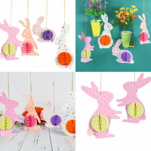 Bunny Bunting Rabbit Hanging Garland Colorful Spiral Happy Easter Party Decor