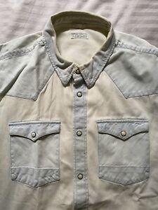 L Large Allsaints men's distressed-style Denim Shirt