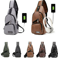 Men Travel Cross Body Messenger Shoulder Back Pack USB Charging Sling Chest Bag
