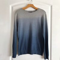 Vince Wool Blend Sweater Size Large Blue Dip Dye Long Sleeve Crewneck
