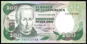 Colombia P429b El Banco de la Republica 200 Pesos Oro 20.7.1984 UNC