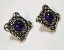 Earrings Unsigned Retro Jewelry Pierced Vintage Silver Tone Purple Acrylic