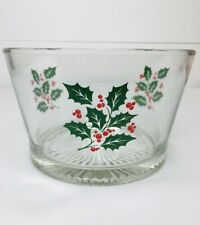 Christmas Holly Design Clear Glass Serving Bowl Ice Bucket