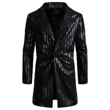 Men Striped Tailor Collar Black Jacket