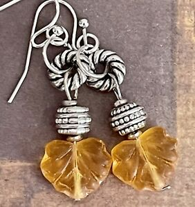 Etched Silver Dangle Earrings with Yellow Picasso Czech Glass Leaves. Fall
