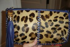 CLEVER CARRIAGE LEATHER & ANIMAL PRINT CLUTCH-NEW WITHOUT TAGS!! GORGEOUS!!!!