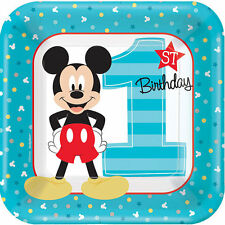"""Mickey Mouse First/1st Fun to Be One 7"""" Cake Plate (8 Pack)"""