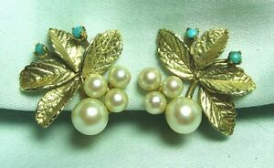 """14K Gold Clip-On Earrings w Pearls and Turquoise 7.8 grams 7/8"""""""