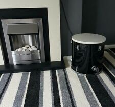 Upcycled Floor Tom Drum Coffee/Side Table black & white with storage inside.