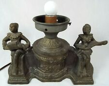 RARE VTG. ART DECO CAST METAL LAMP BASE COURT JESTERS PLAYING INSTRUMENTS (WORKS