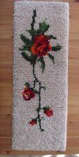 Handgeknüpfter Wandbehang kleiner Teppich beige mit Blumenmotiv