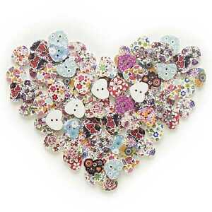 50pcs 2 Hole Heart Wood Buttons Sewing Scrapbooking Home Decor Clothing 17mm