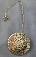 VTG STERLING SILVER OVERLAY MAYAN & ABALONE PIN/ PENDANT & CHAIN MEXICO PRE 1948