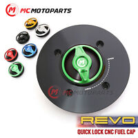 Black REVO CNC Quick Release Gas Fuel Cap For Kawasaki KLE300 VERSYS-X 300 17-19 Z900 ABS 17-19 Z650 17-19 Ninja 400 18 2019 2020