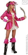 Ladies Deluxe Pink Gothic Pirate Captain Musketeer Fancy Dress Size 10-14