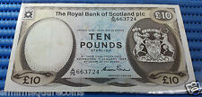 1984 Royal Bank of Scotland Ten Pounds A/75 663724 Circulated Banknote Currency