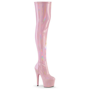 Adore 3000 HWR Thigh High Platform Boots Baby Pink Hologram Patent US 5 - 14 NY