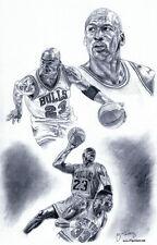 Michael Jordan Chicago Bulls sketch drawing poster ART
