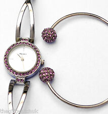 Henley Womens Lilac Crystals Quartz Watch & Matching Bangle Gift Set in Gift Box
