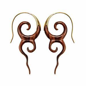 81stgeneration Gold Tone Brass Wood Brown Spiral Swirl Long Tribal Earrings