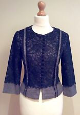 PHASE EIGHT TWEED LACE JACKET BLACK GREY WOOL MIX SIZE 8 BUTTON