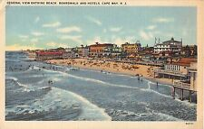 1940s? General View Bathing Beach Boardwalk & Hotels Cape May Nj post card