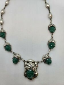 VINTAGE  MEXICAN TAXCO  STERLING SILVER AZTEC MAYAN STONE FACE NECKLACE Stunning