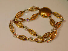 "Beautiful Vintage 2 strand Faceted Crystal etched Gold bead 7.5"" Bracelet 12h 31"