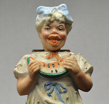 Rare Antique Bisque Southern Watermelon Eating Figurine Nodder-7 1/4 inches tall