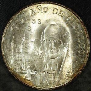 1953 Mexico Silver 5 Pesos Hidalgo Bicentennial Uncirculated ☆☆ 457