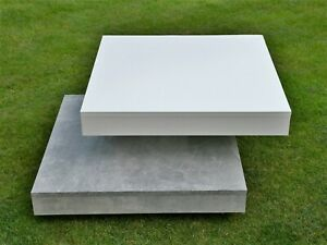 *FIF* White Cement Grey Wood BRUNCH ROTATING SQUARE COFFEE TABLE GC EWO rrp£224