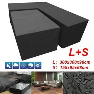 L+S Shape Waterproof Furniture Cover Outdoor Garden Rattan Corner Sofa