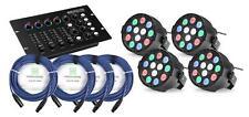 4x DJ PA LED Party Spot RGBW DMX Controller Lichteffekt Scheinwerfer Kabel Set