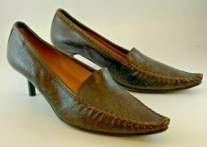 WOMENS PATRICK COX WANNABE UK 8 EU 41 BROWN LEATHER KITTEN HEEL POINTED SHOES