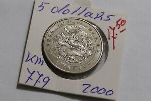 LIBERIA CHINA 5 DOLLARS 2000 YEAR OF THE DRAGON B38 RR7