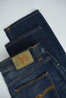 NUDIE GRIM TIM LIGHT RICH BLUE Men W33/L34 Faded Slim Straight Jeans 3127_mm