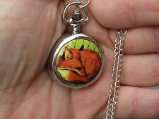 fox necklace pendant pocket watch silver tone
